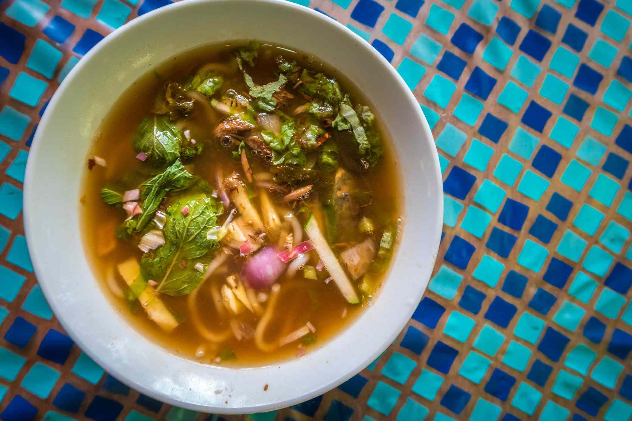 A bowl of Asam or Penang laksa