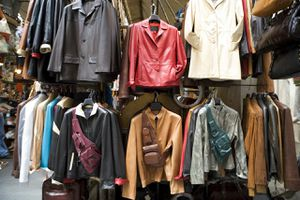 Leather jackets hanging at store