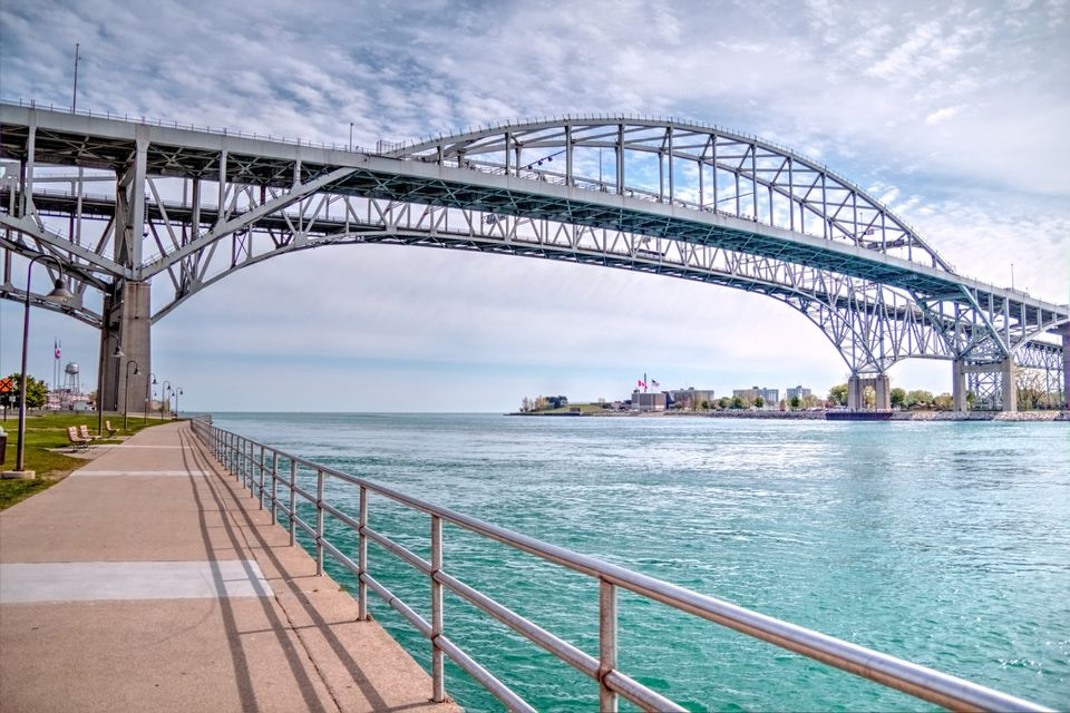 The twin spans of the Blue Water Bridges connect the cities of Port Huron, Michigan and Sarnia, Ontario