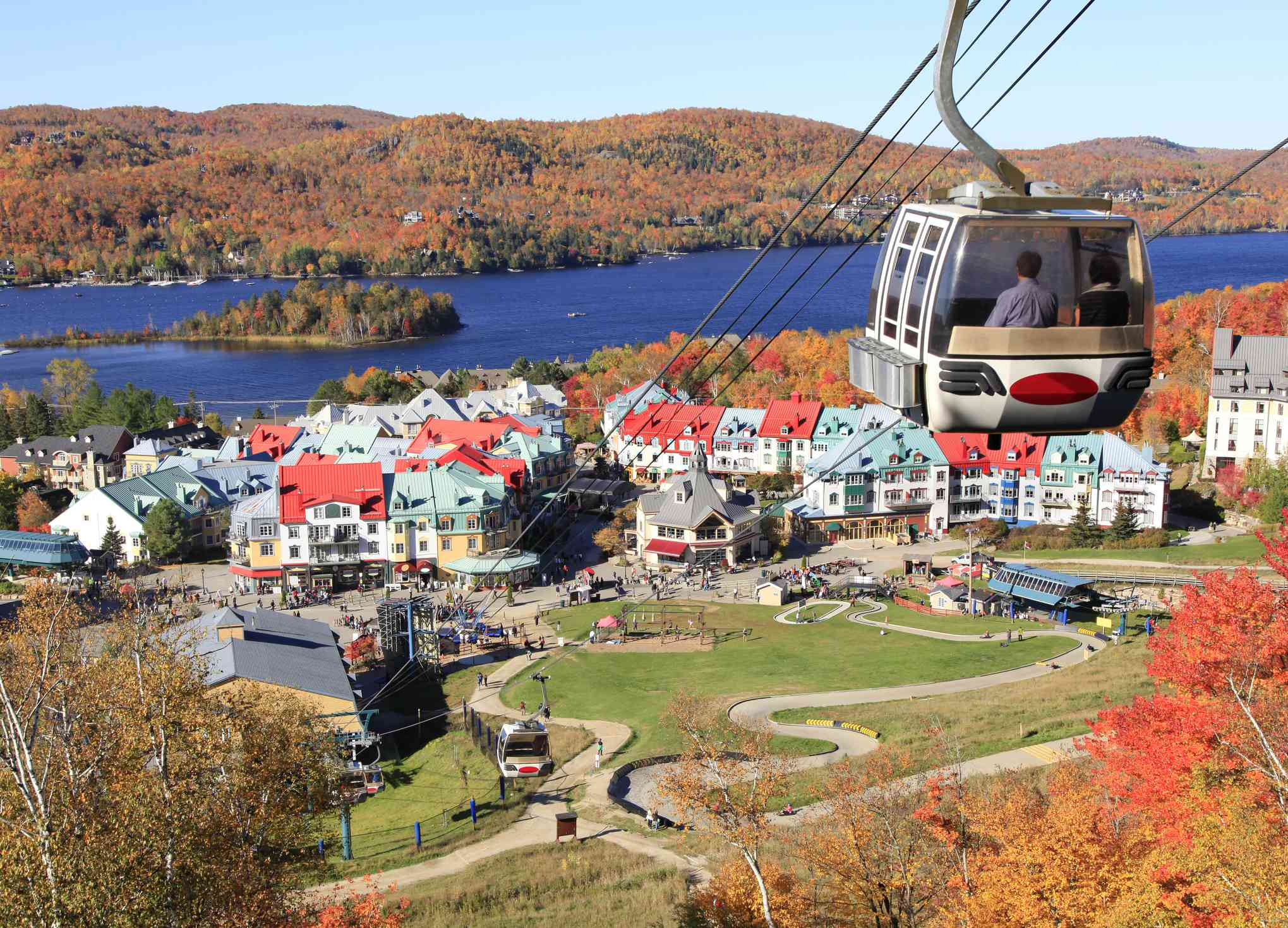 View of Mont Tremblant Lake Village, Quebec, Canada in fall