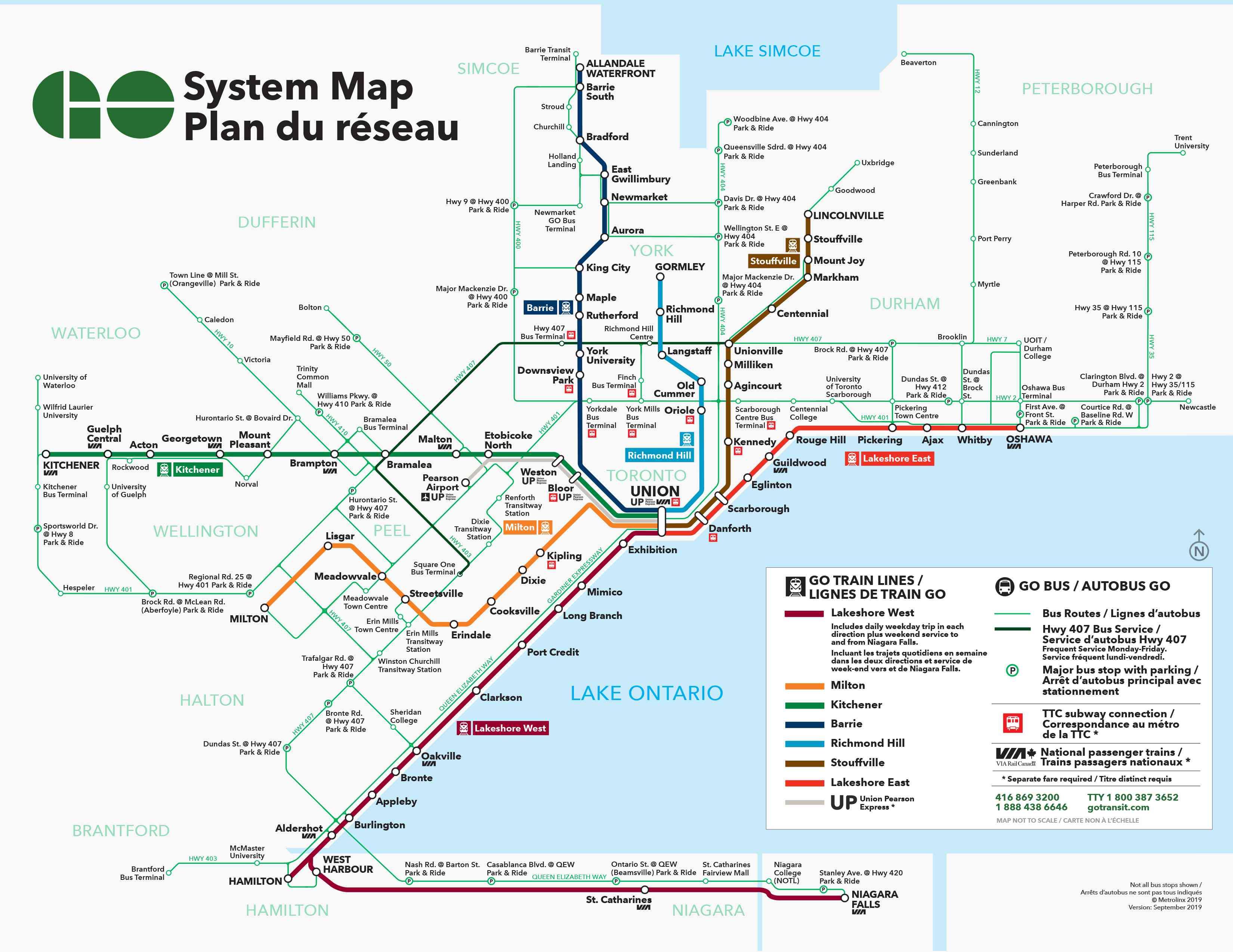GO Transit system map, Toronto