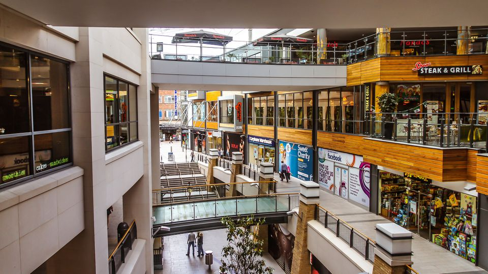 interior of three level, partiall open-air shopping mall in belfast