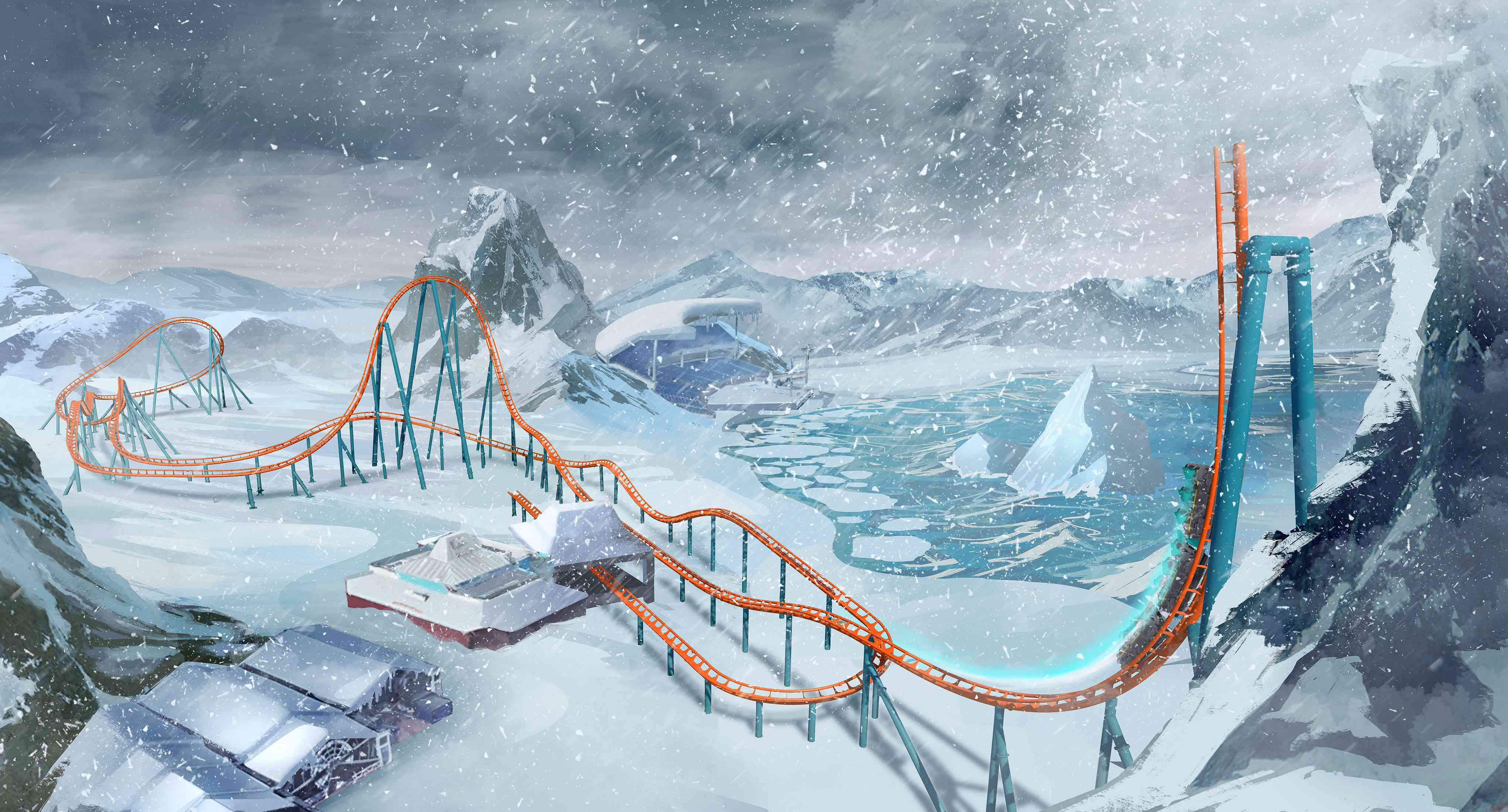 Ice Breaker coaster at SeaWorld Orlando