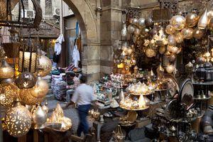 Man walking through Khan el-Khalili Bazaar, Cairo