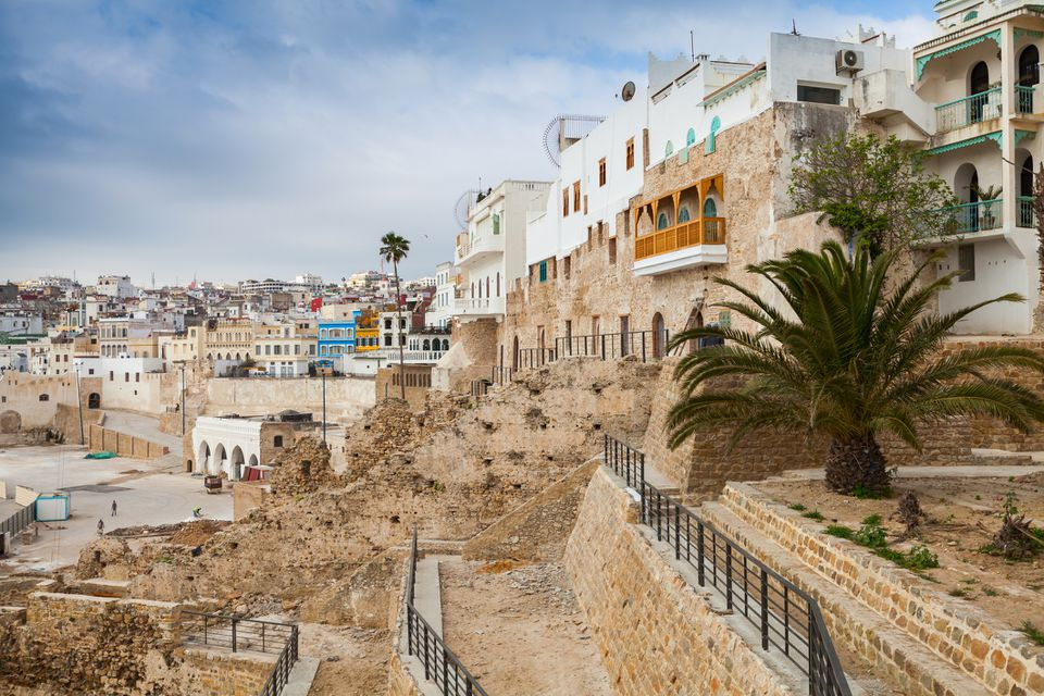 Ancient walls and living houses in Medina. Tangier, Morocco